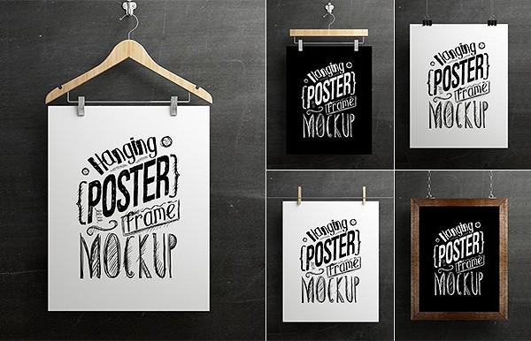 Hanging Poster Frame Mock-Up