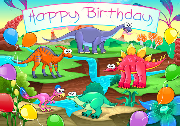Happy Birthday Card with Dinosaurs