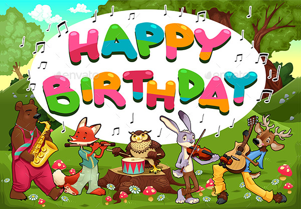 Happy Birthday Card with Funny Musician Animals