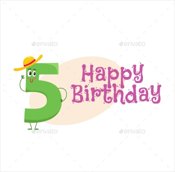 Happy Birthday Vector Greeting Card Design