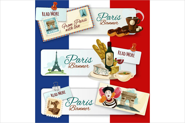 Happy Travel Banner Design with Stamp Free