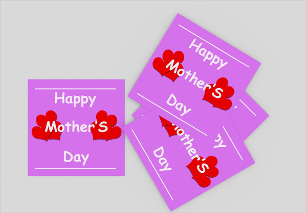 Heart Mother's Day Greeting Card Template