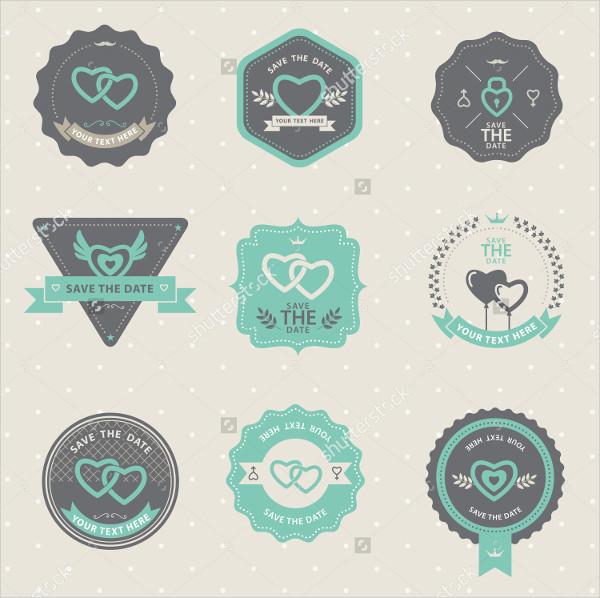 Set of Vintage Badge Wedding and Love