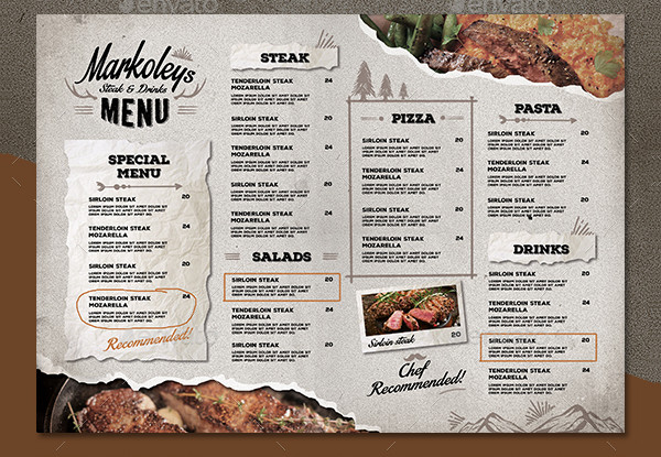 Hipster Cafe Menu Board Template