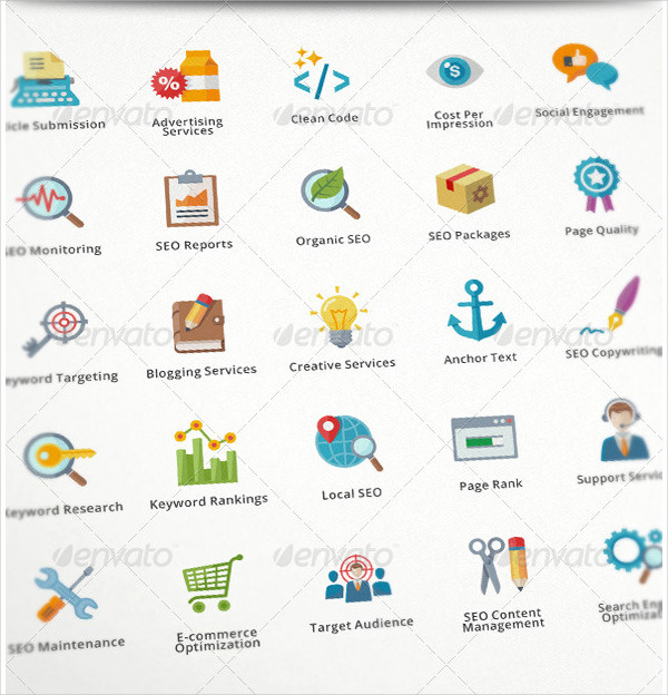 SEO & Internet Marketing Flat Icons
