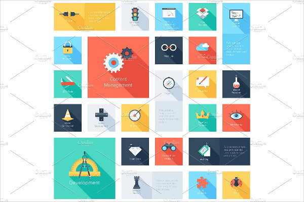 Collection of Colorful Flat Search Engine Optimization Icons