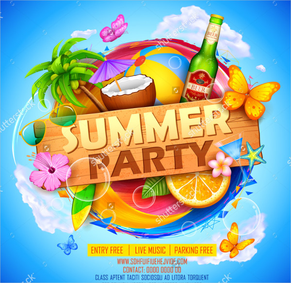 Clean Summer Party Poster Design