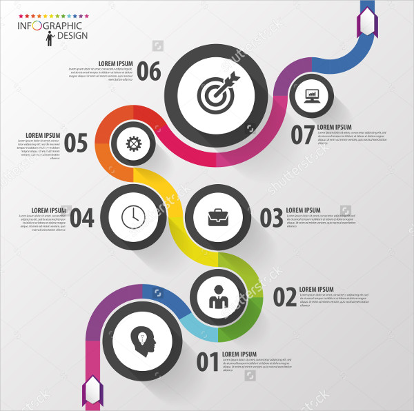 Abstract Colorful Business Path Timeline Infographic