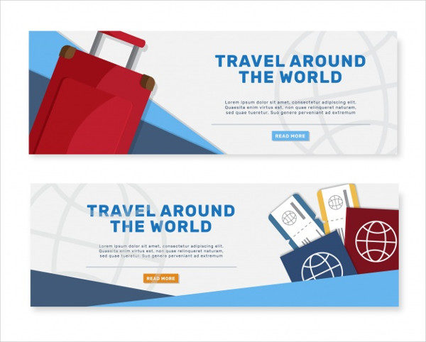 Travel Banners with Suitcase and Passports Free