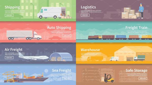 Logistics Banners Flat Set
