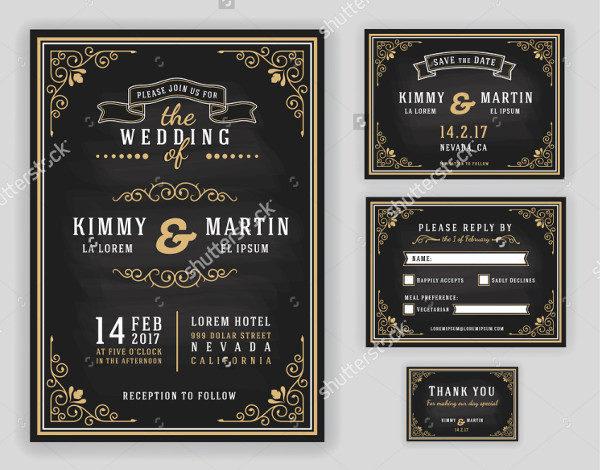 Luxurious Wedding Invitation on Chalkboard Background