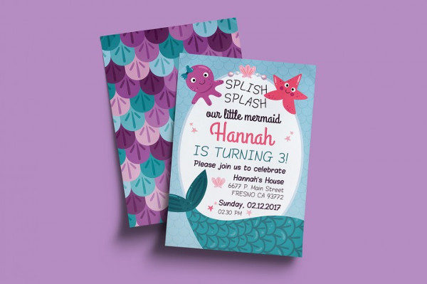 Mermaid Birthday Card Invitation