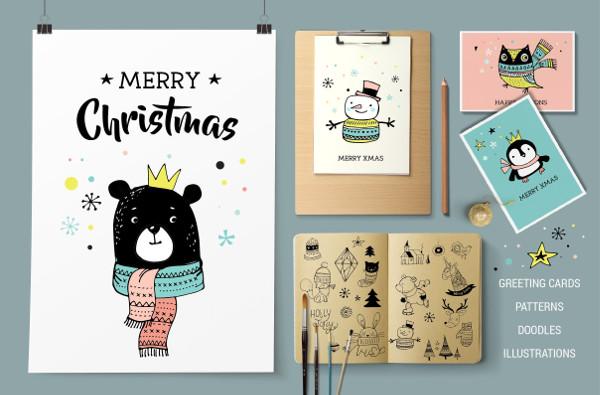 Merry Christmas Greetings & Doodles