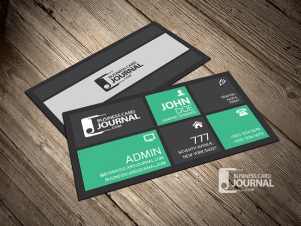 Metro Business Card Template in Green Color Free PSD