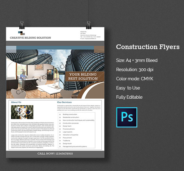 PSD Construction Company Flyer Free Download