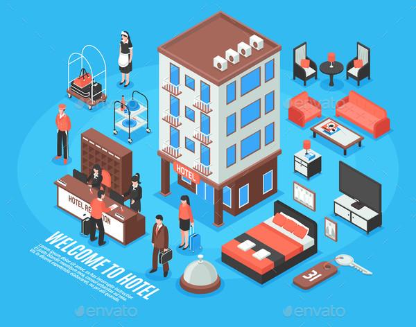 Modern Isometric Hotel Icon Set