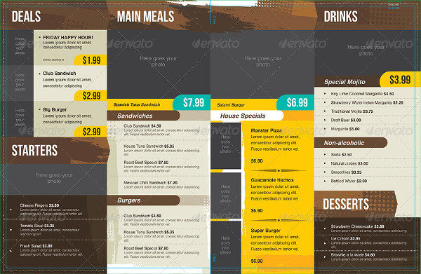 Modern and Distressed Food Menu Templates
