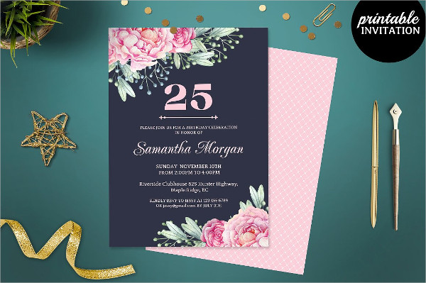 Navy Blue Birthday Invitation Card Template