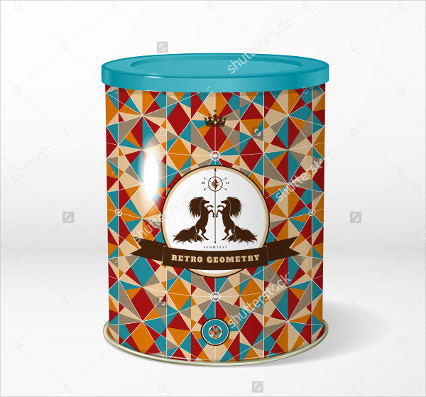 Vector Round Tin Tea Packaging Template