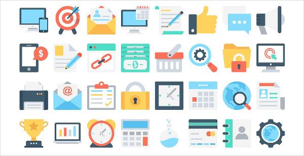Flat Marketing & SEO Icons