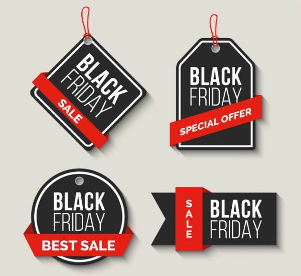 Pack of Black Friday sale Labels Free Vector