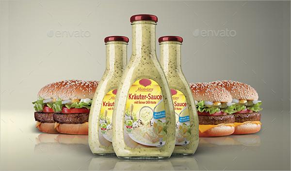 Editable Sauce Bottle Packaging Mockup