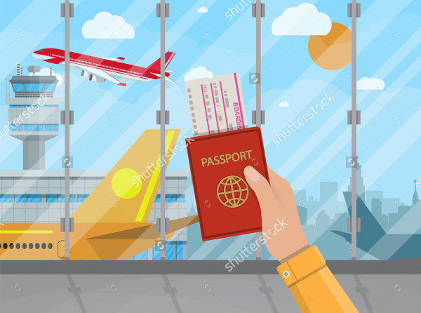 Boarding Pass Vector Illustration in Flat Design