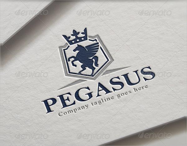 Pegasus Shield Horse Crest Logo Template