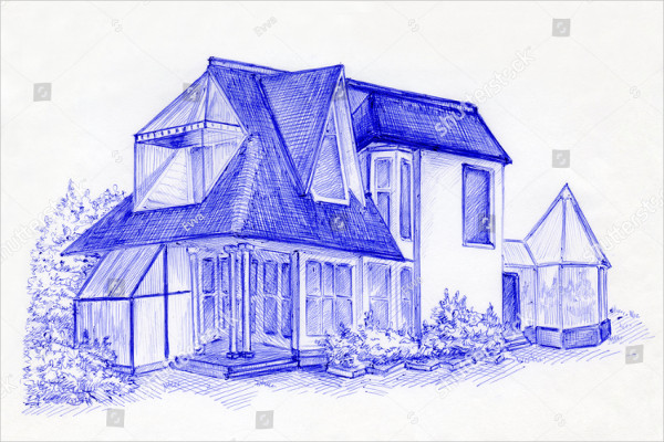 Pen Drawing of House