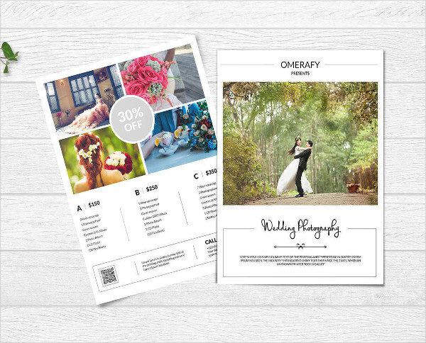 Custom Wedding Photography Price List Flyer