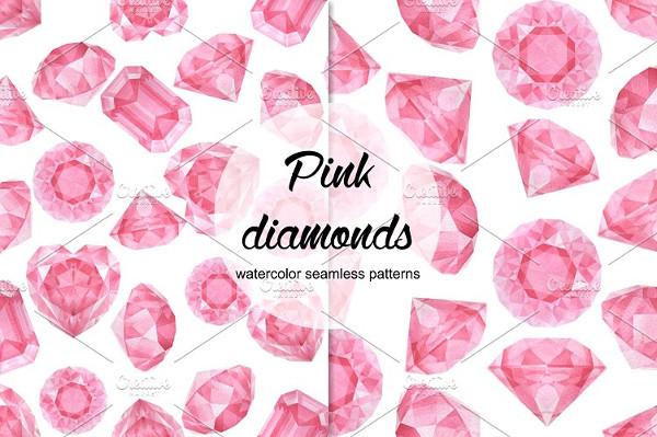 Watercolor Pink Diamonds Patterns