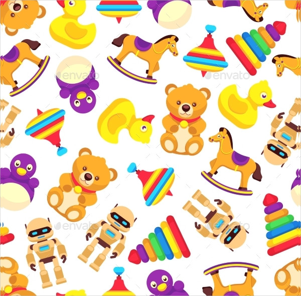 Popular Baby Toys Seamless Pattern