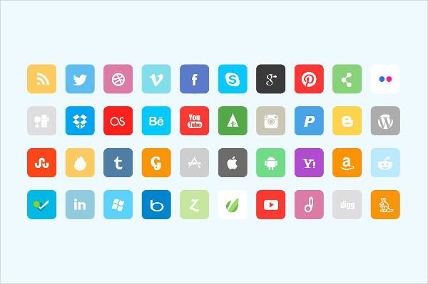 Premium Flat Facebook Icons