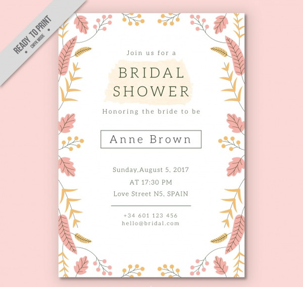 Pretty Bridal Shower Invitation Template Free