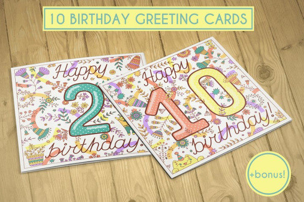Printable Birthday Greeting Cards Collection