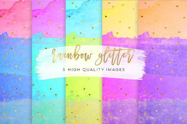 Rainbow Stripes Floral Patterns