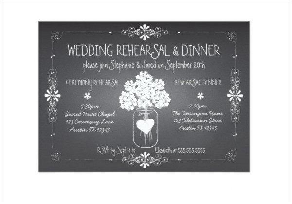 Wedding Rehearsal Chalkboard Invitation Template