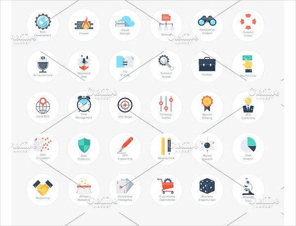 Flat Search Engine Optimization Icons