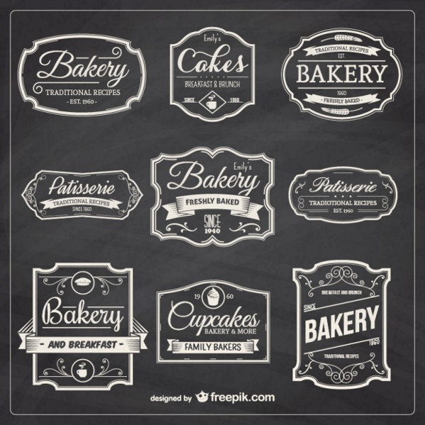 Hand Drawn Bakery Badges Free Download