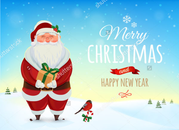 Retro Christmas Poster & Greeting Card Template