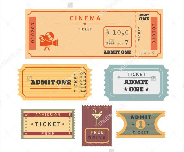 Set of Retro Ticket Templates