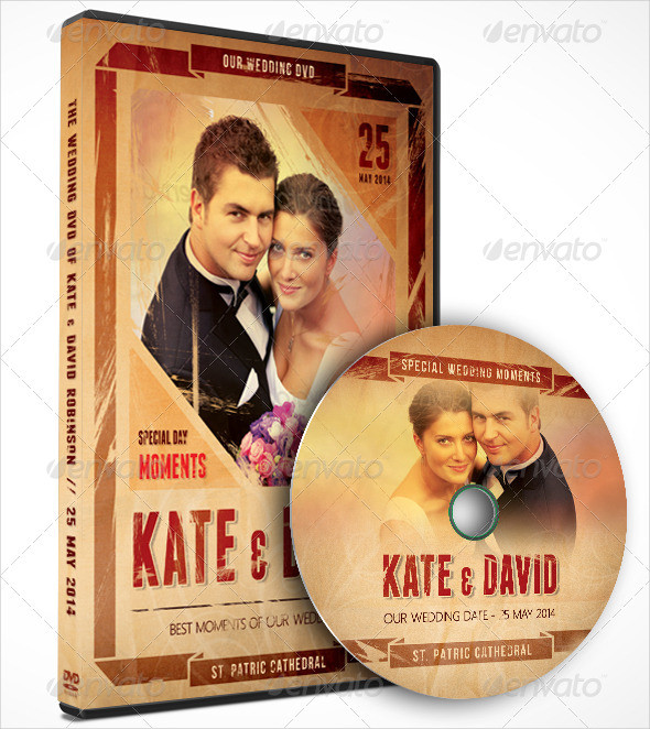 Retro Wedding DVD Cover Templates