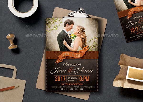 Retro Engagement Invitation Template
