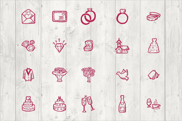 65 Wedding Hand Drawn Icon Pack
