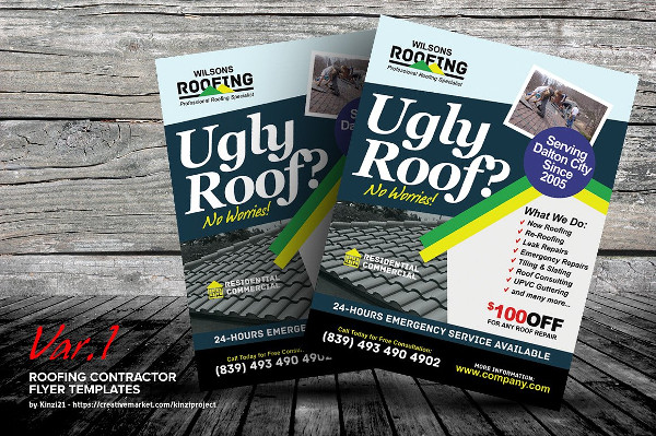 Roofing Contractor Flyer Templates