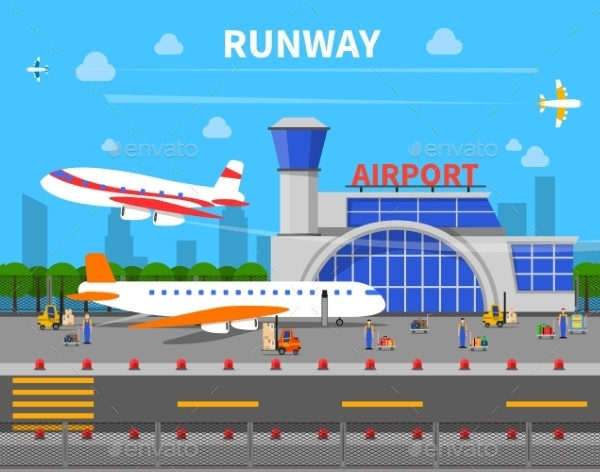 Runway Airport Art Illustrations