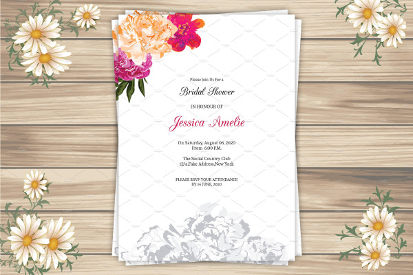Rustic Bridal Shower Invitation Photoshop and Ms Word
