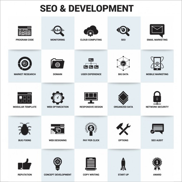 SEO and Development Icons Free Vector