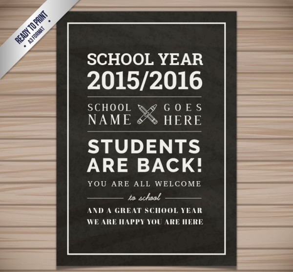 School Flyer in Blackboard Style Free Vector