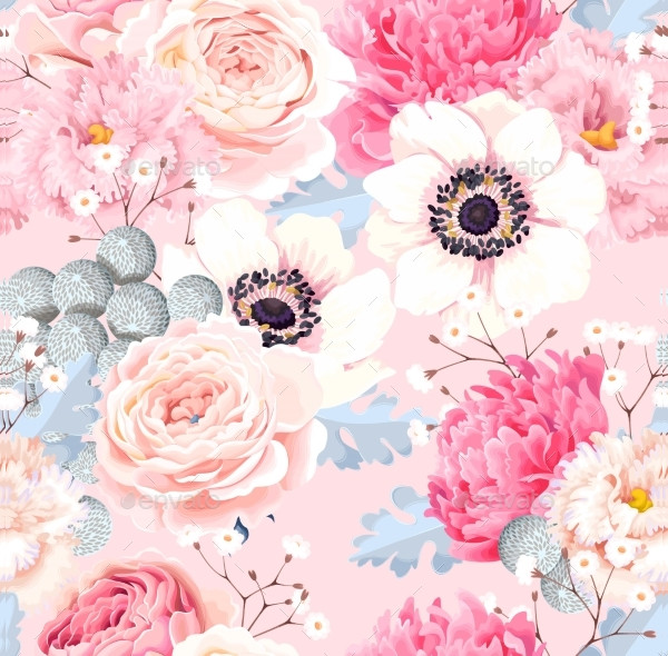 Seamless Pattern with Anemones and Roses